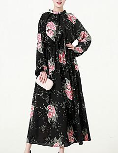 billige Vintage-dronning-Dame Ferie Vintage Bomuld Skede Kjole - Trykt mønster Maxi