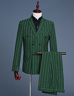 お買い得  メンズブレザー&スーツ-男性用 スーツ ノッチドラペル ソリッド ストライプ