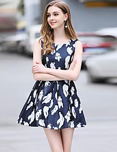 Χαμηλού Κόστους BlueSkyButterfly-Γυναικεία Μανίκι Πεταλούδα Γραμμή Α Φόρεμα - Φλοράλ, Δαντέλα Μίνι Ψηλή Μέση