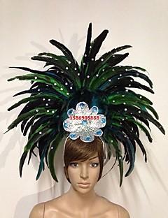 billige Halloweenkostymer-Karneval Hatter / Samba Headdress Grønn / Blå / Fuksia Fjær Cosplay-tilbehør Karneval / Maskerade Halloween-kostymer