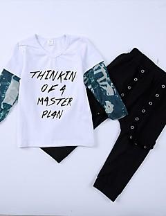 billige Tøjsæt til drenge-Drenge Tøjsæt Daglig Ensfarvet Blomstret Patchwork, Bomuld Forår Alle årstider Langærmet Afslappet Gade Hvid