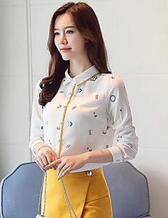 billige Skjorte-Krave Dame Trykt mønster Skjorte