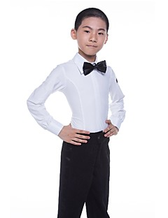 cheap Kids' Dancewear-Latin Tops Boys' Performance Spandex Satin Bow Long Sleeve Natural Tops