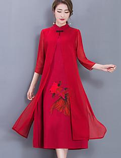 baratos Vestidos de Mulher-Mulheres Para Noite Trabalho Vintage Boho Temática Asiática Bainha Chifon Médio Vestido,Fenda Estampado Geométrica Colarinho Chinês