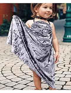 billige Babykjoler-Baby Pigens Kjole Daglig Ensfarvet, Uld Bomuld Bambus Fiber Forår Uden ærmer Simple Vintage Blå Grøn Rød Lyserød Grå
