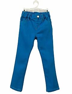 billige Bukser og leggings til piger-Pige Bukser Ensfarvet, Bomuld Forår Efterår Aktiv Blå