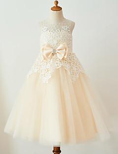 billige Bryllupsbutikken-Ballkjole Telang Blomsterpikekjole - Blonder Tyll Ermeløs Besmykket med Perlearbeid Sløyfe(r) av Thstylee