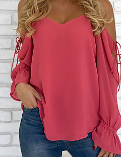 cheap -Women's Street chic Loose Blouse - Solid Colored V Neck