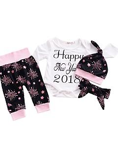 billige Sett med babyklær-Baby Unisex Tøjsæt Daglig Blomstret, Bomuld Forår Langærmet Simple Aktiv Hvid