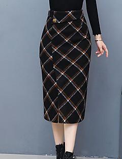 저렴한 -여성 빈티지 무릎길이 스커트,바디콘 데이트 면 겨울 모든계절/가을 컬러 블럭