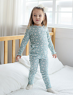 billige Undertøj og sokker til piger-Pige Nattøj Bomuld Langærmet Simple Grøn Lyserød Lysebrun