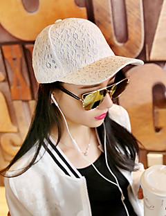billige Trendy hatter-Dame Kontor Fritid Baseballcaps Solhatt,Alle årstider Ensfarget Bomull Blonder Elegant Hvit Svart Rosa