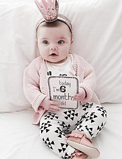 billige Sett med babyklær-Baby Pige Tøjsæt Daglig Trykt mønster, Bomuld Forår Langærmet Normal Hvid