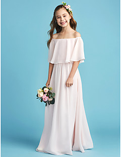 cheap Junior Bridesmaid Dresses-A-Line Princess Off Shoulder Floor Length Chiffon Junior Bridesmaid Dress with Pleats by LAN TING BRIDE®