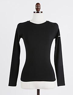 billige Løbetøj-Dame Rund hals Løbe-T-shirt - Sort, Grå, Mørk Navy Sport Toppe Yoga, Fitness, Træningscenter Langærmet Sportstøj Hurtigtørrende, Åndbarhed