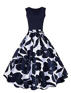 preiswerte -Damen Swing Kleid-Lässig/Alltäglich Einfach Einfarbig Rundhalsausschnitt Übers Knie Ärmellos Baumwolle Frühling Sommer Mittlere Hüfthöhe