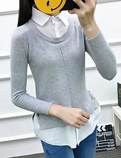 baratos Suéteres de Mulher-Mulheres Manga Longa Pulôver - Sólido