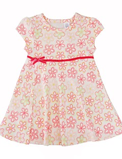 Baby Girl's Daily Floral Dress,Cotton Simple Casual Short Sleeve Beige White