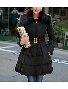 お買い得  レディースコート&トレンチコート-女性用 シャツカラー ダウン - フリル プリーツ, ソリッド フェイクファー
