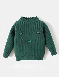 billige Sweaters og cardigans til piger-Pige Trøje og cardigan Ensfarvet, Akryl Forår Langærmet Simple Brun Grøn