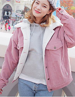 cheap -Women's Daily Vintage Winter Regular Jacket, Solid Round Neck Cotton Acrylic Pleated