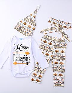 billige Tøjsæt til drenge-Unisex Tøjsæt Daglig Geometrisk Trykt mønster Bogstaver, Bomuld Polyester/Bomuld Forår Alle årstider Langærmet Seperate Kroppe