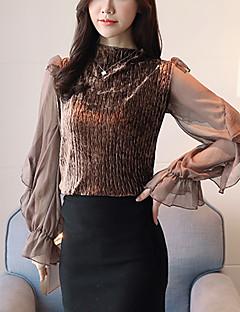 Χαμηλού Κόστους Blouses to buy!-Γυναικεία Μπλούζα Μονόχρωμο, Flare μανίκι Στρογγυλή Ψηλή Λαιμόκοψη Με Βολάν