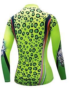 billige Sykkelklær-CYCOBYCO Dame Langermet Sykkeljersey - Grønn Leopard Store størrelser Sykkel Genser Jersey Topper, Fort Tørring Refleksbånd Polyester 100% Polyester / Elastisk / Avanceret