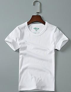 billige Pigetoppe-Pige T-shirt Ensfarvet, Bomuld Sommer Kortærmet Simple Grøn Hvid Sort Mørkegrå Lysegrå