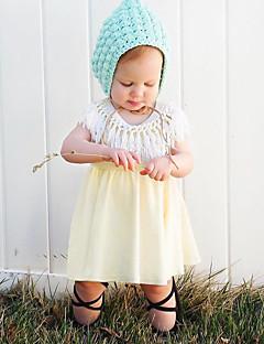 billige Babykjoler-Baby Pigens Kjole Daglig Ensfarvet Forår Uden ærmer Simple Gul