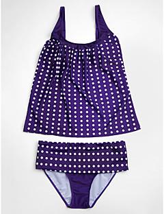 billige Bikinier og damemote-Dame Store størrelser Med stropper Svart Rød Lilla Underbukser Bikinikjole Badetøy - Polkadotter Trykt mønster XL XXL XXXL