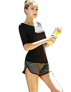 billiga Träning-, jogging- och yogakläder-Dam Scoop Neck T-shirt och shorts till jogging - Svart sporter Överdelar Halvlång ärm Sportkläder Snabb tork, Vindtät, Mateial som andas