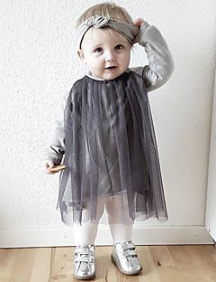 billige Babykjoler-Baby Pigens Kjole Daglig Ensfarvet, Bomuld Hør Bambus Fiber Akryl Forår Simple Sort Lyserød
