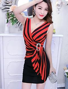 hesapli Mini Elbiseler-Kadın's Bandaj Elbise - Çizgili V Yaka Mini Yüksek Bel