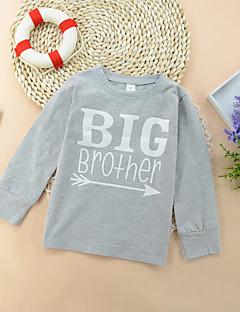 billige Overdele til drenge-Drenge T-shirt Daglig Ensfarvet Trykt mønster, Bomuld Alle årstider Langærmet Simple Afslappet Lysegrå