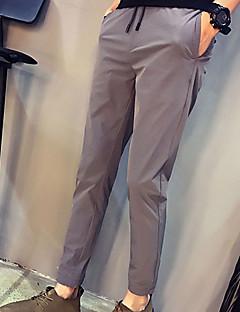 billige Herrebukser og -shorts-Herre Fritid Mikroelastisk Skinny Bukser, Mellomhøyt liv Nylon Spandex Ensfarget Vår Sommer