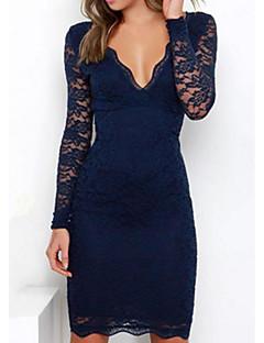hesapli Stile Göre Alışveriş-Kadın's Tatil Pamuklu İnce Kılıf Elbise - Solid V Yaka Diz üstü Mavi