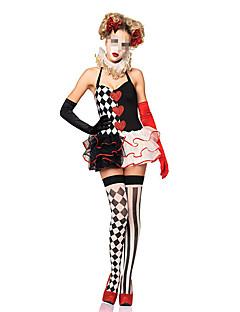 billige Voksenkostymer-Burlesk / Klovn Cosplay Kostumer Dame Halloween Festival / høytid Halloween-kostymer Svart Pledd / Tern