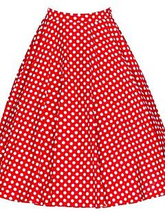 저렴한 -여성 빈티지 캐쥬얼 무릎 위 스커트,A 라인 일상 데이트 면 사계절 도트무늬 플로럴