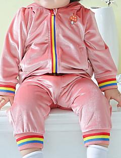 billige Tøjsæt til piger-Unisex Tøjsæt Daglig Ensfarvet, Bomuld Efterår 3/4-ærmer Afslappet Blå Lyserød