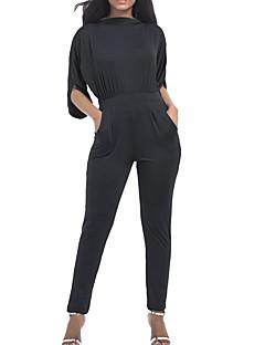 お買い得  レディースジャンプスーツ&ロンパース-女性用 祝日 コットン ジャンプスーツ ソリッド クルーネック