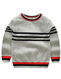 billige Gutteklær-Gutt Genser og cardigan Stripet Polyester Vinter Høst Langt Erme Rød Grå Gul Marineblå