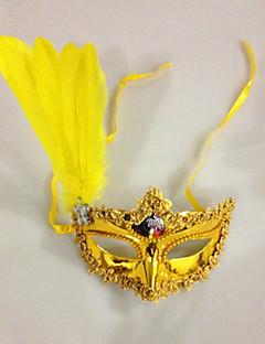 billige Halloweenkostymer-Klassisk Masquerade Mask Svart Gul Hvit Plastikker Cosplay-tilbehør Maskerade