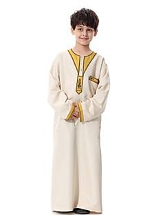 tanie Odzież dla chłopców-Dla chłopców Impreza Codzienny Jendolity kolor Haft Garnitur / marynarka, 100% Polyester Długi rękaw Na co dzień Abaya Brown Beige Yellow