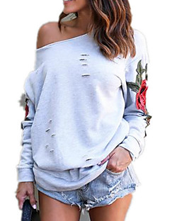 cheap Women's Hoodies & Sweatshirts-Women's Casual Cotton Loose Sweatshirt - Embroidery