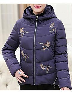 billige Overtøj til damer-Dame Blomstret Afslappet Kort Vatteret Daglig Langærmet
