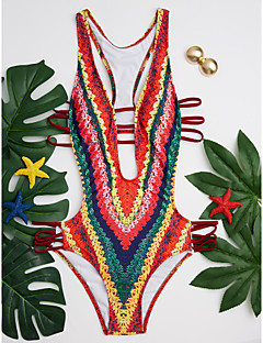 billige Bikinier og damemote-Dame stuper Stikkende halslinje Regnbue Cheeky Monokini Badetøy - Stripet Åpen rygg / Trykt mønster S M L / Super Sexy