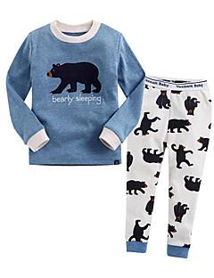 billige Undertøj og sokker til piger-Unisex Nattøj Kreativ, Bomuld Langærmet Normal Blå Lyserød