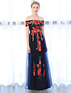 cheap Special Occasion Dresses-Sheath / Column Off Shoulder Floor Length Lace Over Tulle Prom Dress with Embroidery by LAN TING Express