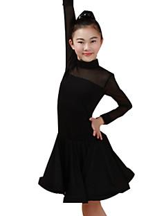 tanie Dziecięca odzież do tańca-Taniec latynoamerykański Suknie Wydajność Nylon Zgnioty Długi rękaw Wysoki Ubierać